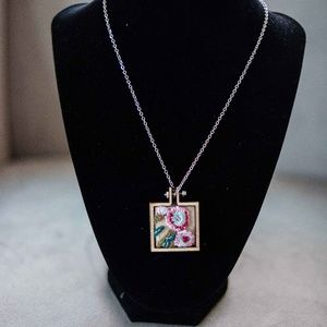 Square embroidery necklace